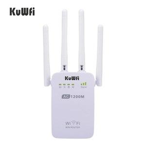 Image 1 - 1200Mbps sans fil Wifi Booster répéteur Extender routeur Point daccès 2.4G/5G double bande avec 4 antennes externes Support WPS