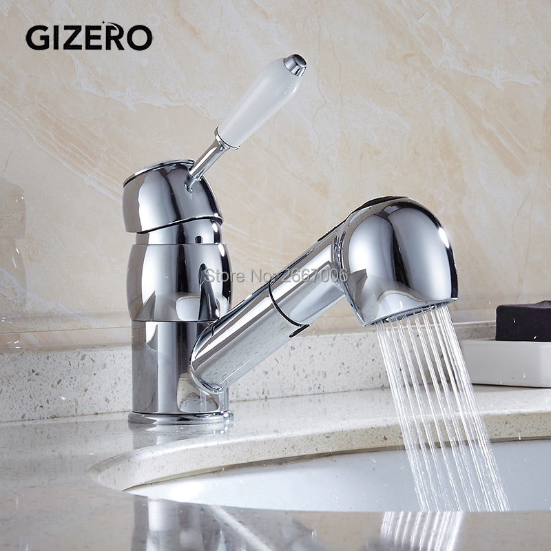 GIZERO Free Shipping Beautiful Design Silver Color Faucet Pull Out Swivel Handle Sprayer Mixer Kitchen Sink