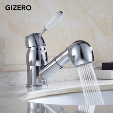Gizero Бесплатная доставка Красивая Дизайн серебро Цвет кран Pull Out Поворотная ручка опрыскиватель смеситель кухня раковина водопад коснитесь GI2079
