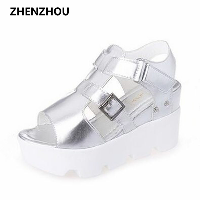 Women's shoes 2017 brand summer new fish mouth shoes slope with sandals waterproof platform students high heels big size 8cm slope with super high heels 14cm platform shoes sandals and slippers spring and summer fish head thick crust waterproof shoes