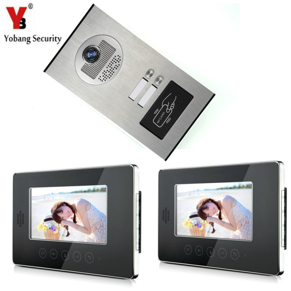 Yobang Security Video Doorbell Monitor Intercom Wired 7-inch LCD Color Monitors and Smart RFID Camera Video Door Phone System jeatone 7 lcd monitor wired video intercom doorbell 1 camera 2 monitors video door phone bell kit for home security system