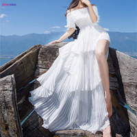 Hanzangl mulheres maxi dress manga curta de slash neck sexy red/white beach dress bohemian longo bolo dress robe longue