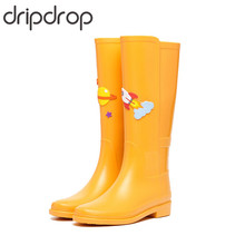 DRIPDROP Women Rain Boots Waterproof Knee-High Rainboots Fashion Water Shoes with Appliques 4 Seasons(China)
