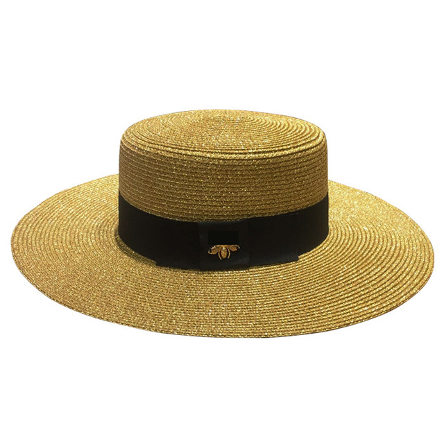 Spring and summer retro gold braided flat head straw hat