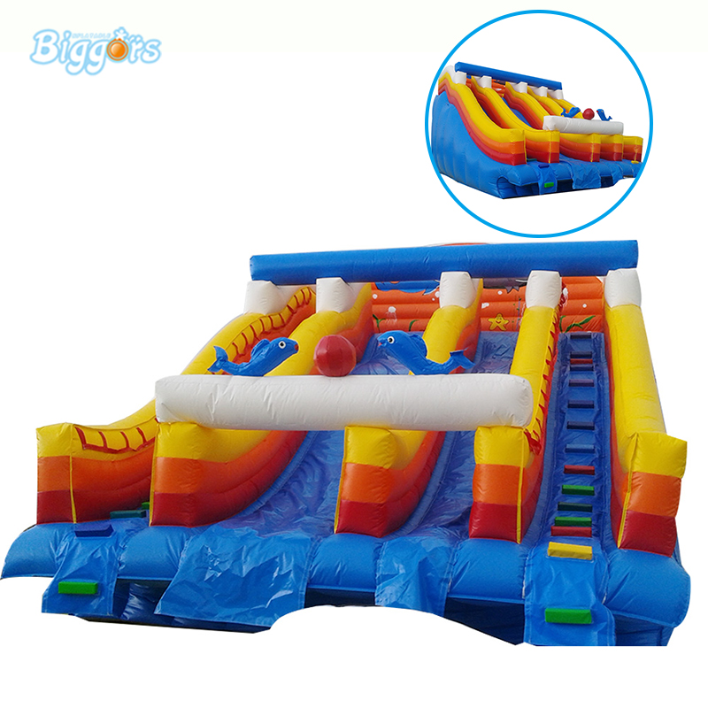 Inflatable Biggors Double Lanes Inflatable Water Slide For Stucking In Pool inflatable biggors combo slide and pool outdoor inflatable pool slide for kids playing