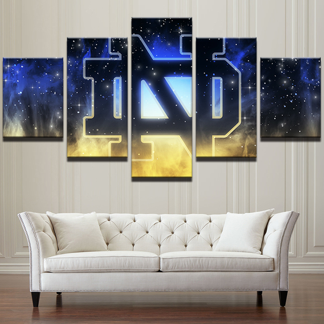 Notre Dame Wall Art 5 pieces/set notre dame fighting irish canvas print - free shipping