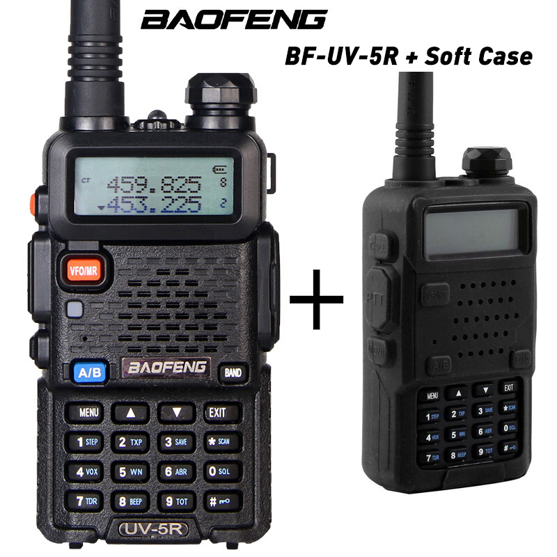 Baofeng UV-5R Portable uv5r talkie-walkie bidirectionnel Radios128CH double bande VHF/UHF 136-174/400-520 MHz émetteur-récepteur + coque souple