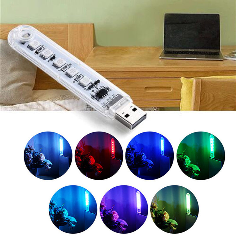1PCS Night Lights DC5V 5Leds USB With Switch SMD5050 RGB Color Portable Lamp For Emergency Lighting,hiking,Fishing Camping Etc.