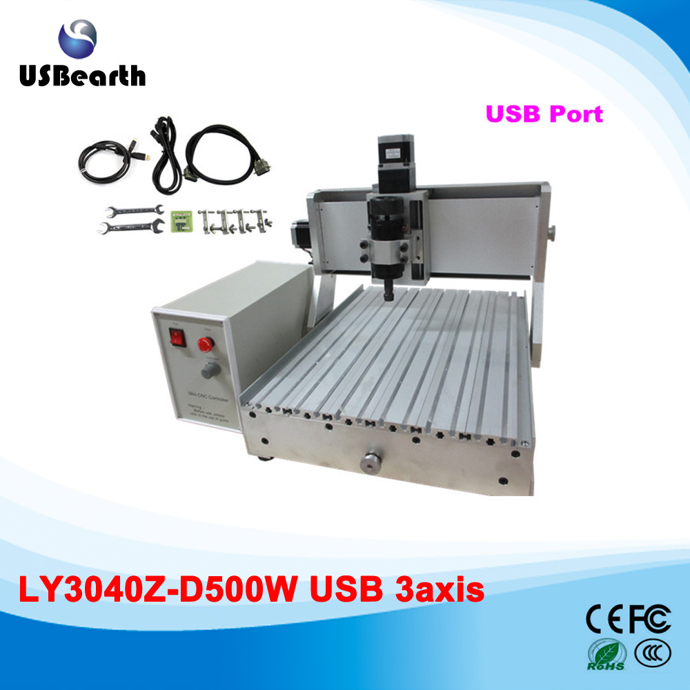 USB port CNC engraving machine LY 3040Z wood carving machine with 500W spindle, no tax to Russia russia tax free cnc woodworking carving machine 4 axis cnc router 3040 z s with limit switch 1500w spindle for aluminum