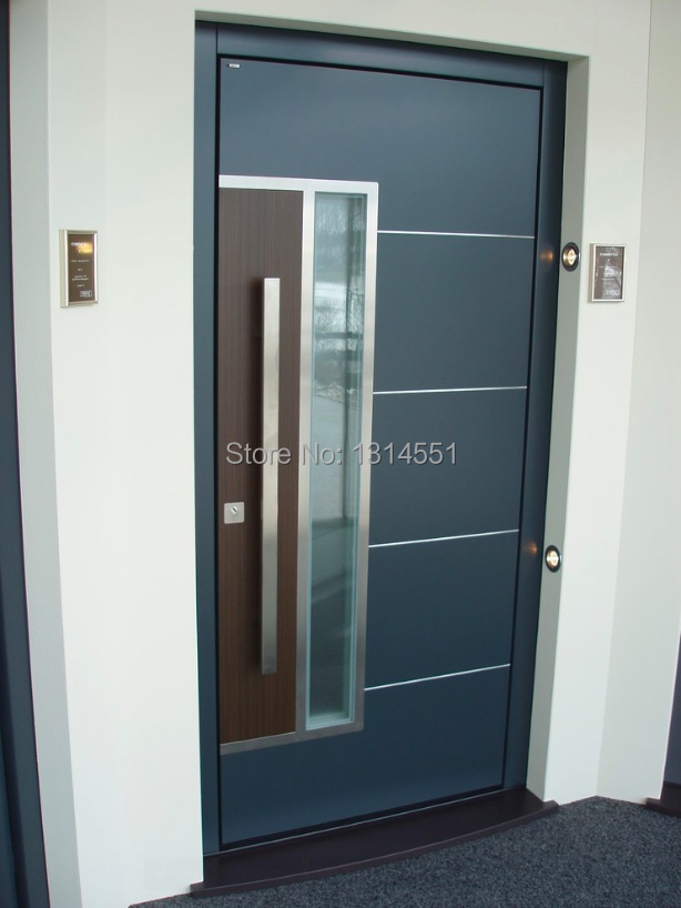 36 inch steel entry door with window. 166# 36 inches /900mm modern stainless steel entrance entry front wood timber glass garage inch door with window