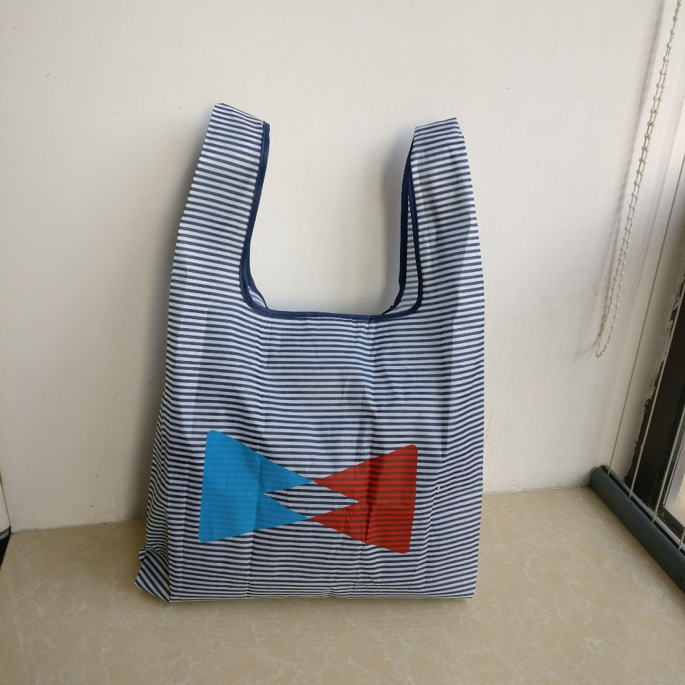500pcs/lot Custom Foldable Eco Reusable Shopping Bag Folding Tote Pouch Recycle Storage Handbags Large-capacity Organization Bag