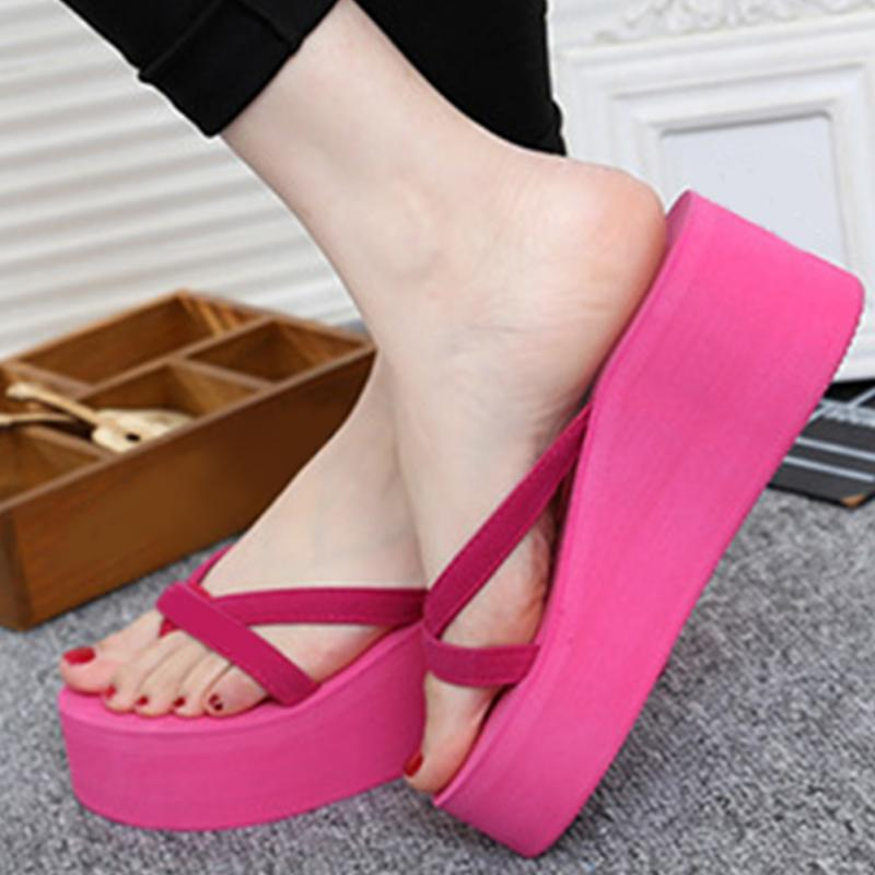 dc0c470f37356 Summer Sweet Women High Heel Flip Flops Slippers Wedge Platform Beach Home  Flat Slipper Female Sandals