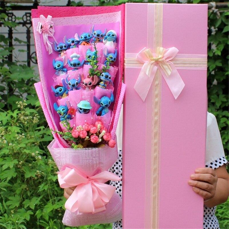 Лило и Стич Букет kawaii букеты плюшевые игрушки розы художественно оформленное мыло цветок Стич Букет романтический подарок ко Дню Святого Валентина