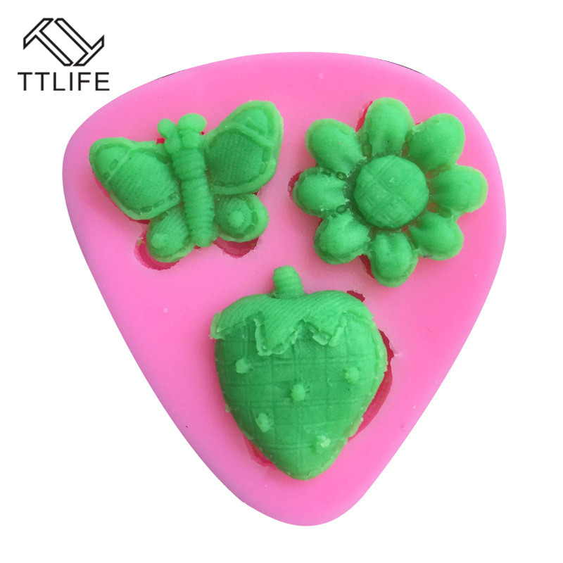 TTLIFE Flower Strawberry Butterfly Silicone Mold Candy Clay Dessert Fondant Cake Baking Mould Pastry Chocolate Decorationg Tool