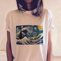 Ukiyo-e Vincent Van Gogh Printed Funny White Tshirts Harajuku Kimono Women Short Sleeve Graphic Tees Tops Vintage Japanese Style