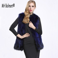 New 2017 Women Real Raccon Fur Vest Winter Warm Thick Waistcoat Genuine Leather Fur Coat Ladies Long Solid Vest Plus Size:S XXXL