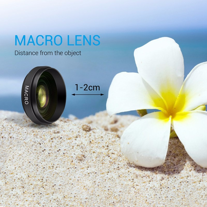 TURATA Fisheye Lens 2 in 1 Professional HD Phone Camera Lens Kit 0.45X Wide Angle+12.5X Macro Clip-on Fish Eye for Smartphone 5
