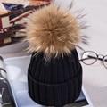 Pompón De Piel de moda de Invierno Sombreros para Las Mujeres Sombrero de Lana de Punto Gorros Cap Chica Nuevo Pom Pom Sombrero