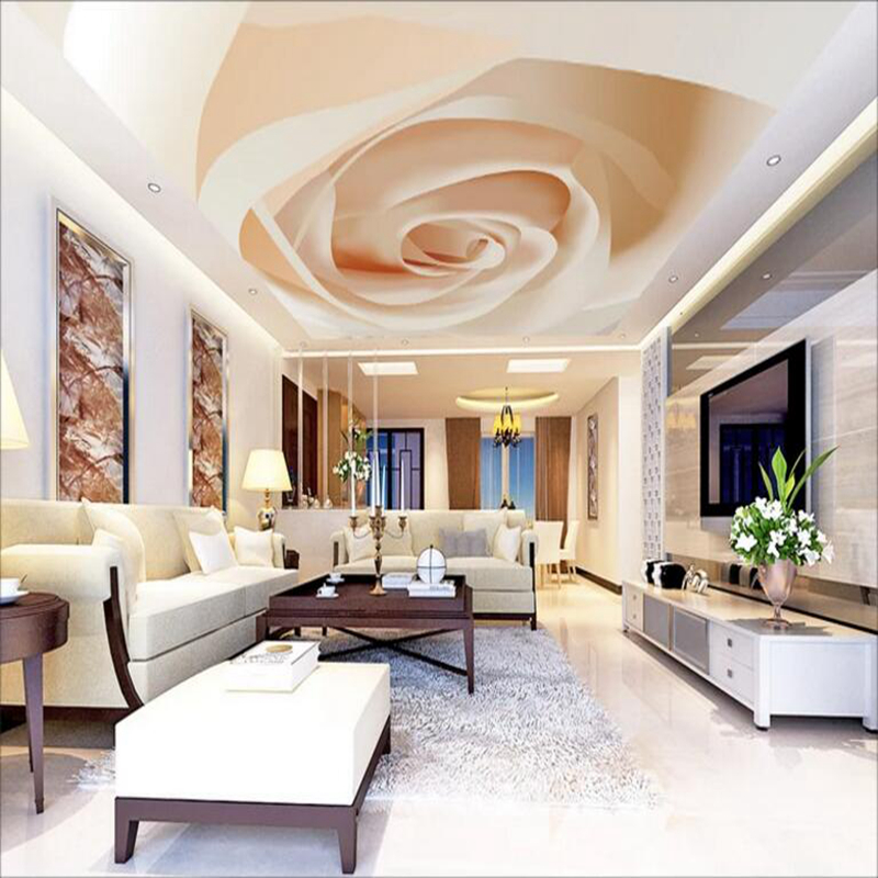 YOUMAN Custom 3 d Photo Wallpaper Ceiling Wall Mural Wall Picture Modern Rose Room Decor Large Background Luxury Roof Wall Mural custom wall mural large wall painting blue sky and white clouds ceiling wallpaper murals living room bedroom ceiling mural decor