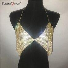 brilliant crystal rhinestone Bra  sexy Metal chain halter backless night club diamond  top
