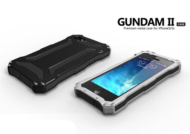 Lujo 5 5S sí impermeable a prueba de golpes armor estuche rígido de aluminio del metal para el iphone 5s cubierta impermeable con vidrio templado