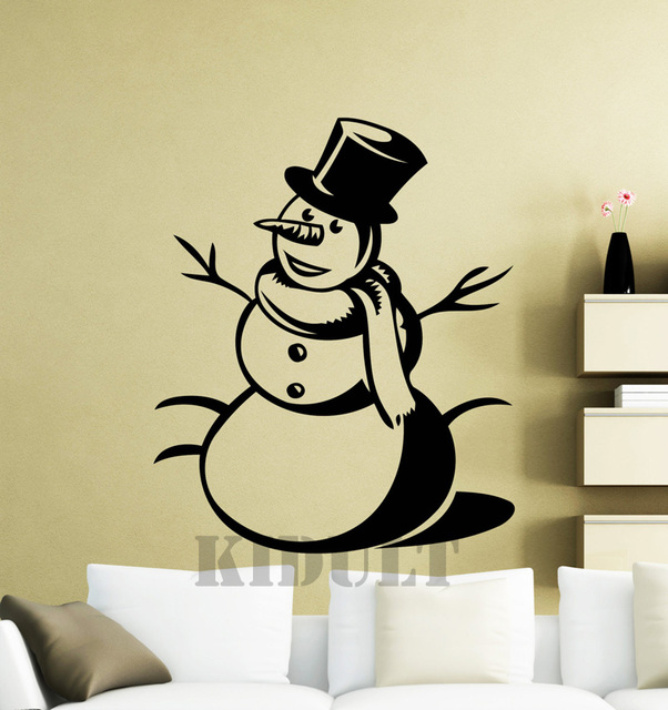 Christmas Snowman Wall Decals Cartoon Wall Sticker Home Interior ...