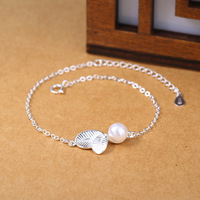 925 Sterling Silver New Pearl Small Leaf Bracelet Lady And Silver Jewelry Manufacturers Selling Beads