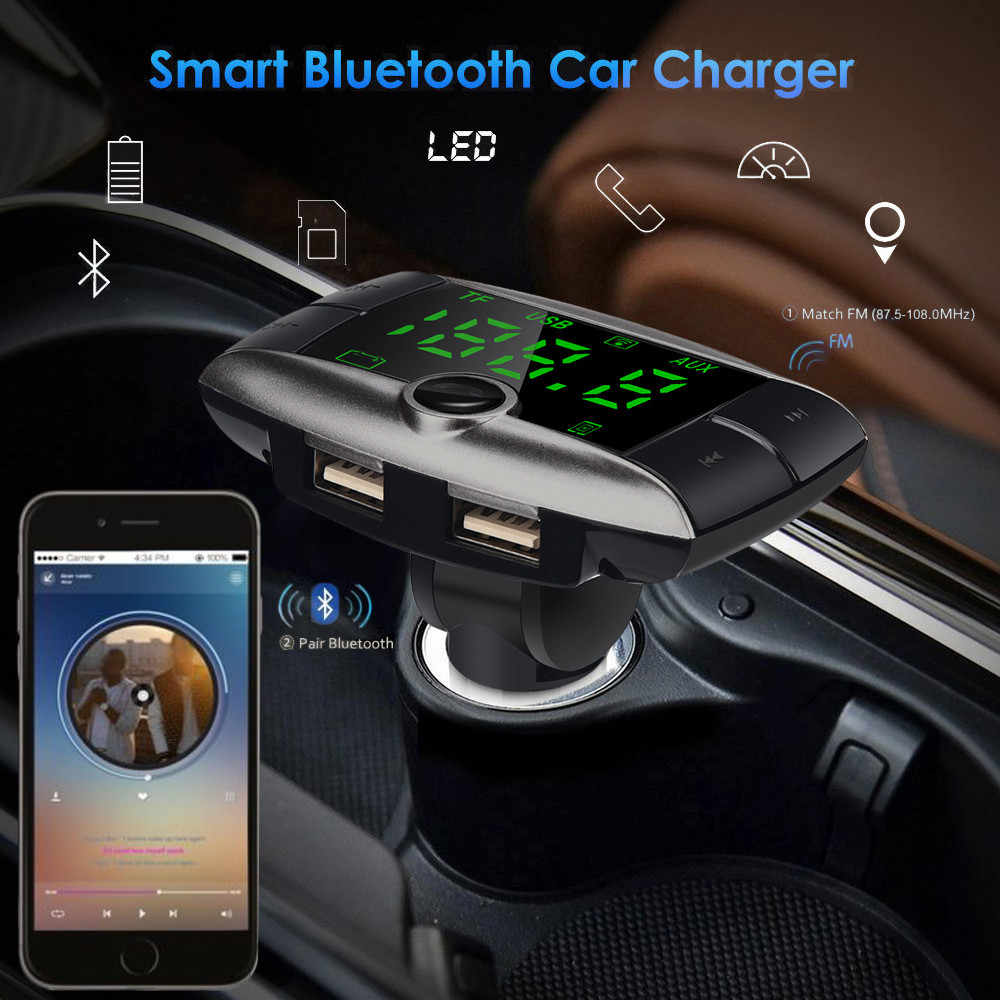 OMESHIN Wireless Bluetooth Car MP3 Player Dual USB Charger Car Audio Modulator Hands Free Vehicle gray Apl26