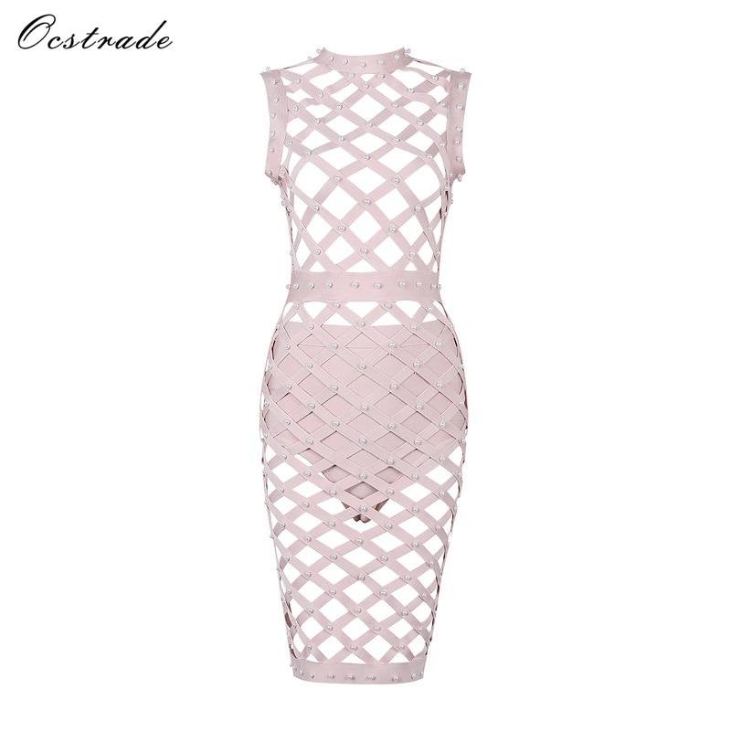 Ocstrade Womens Bodycon Club Dresses 2017 Fashion Khaki Pearl Sexy Evening Bandage Cage Dress Wholesale High