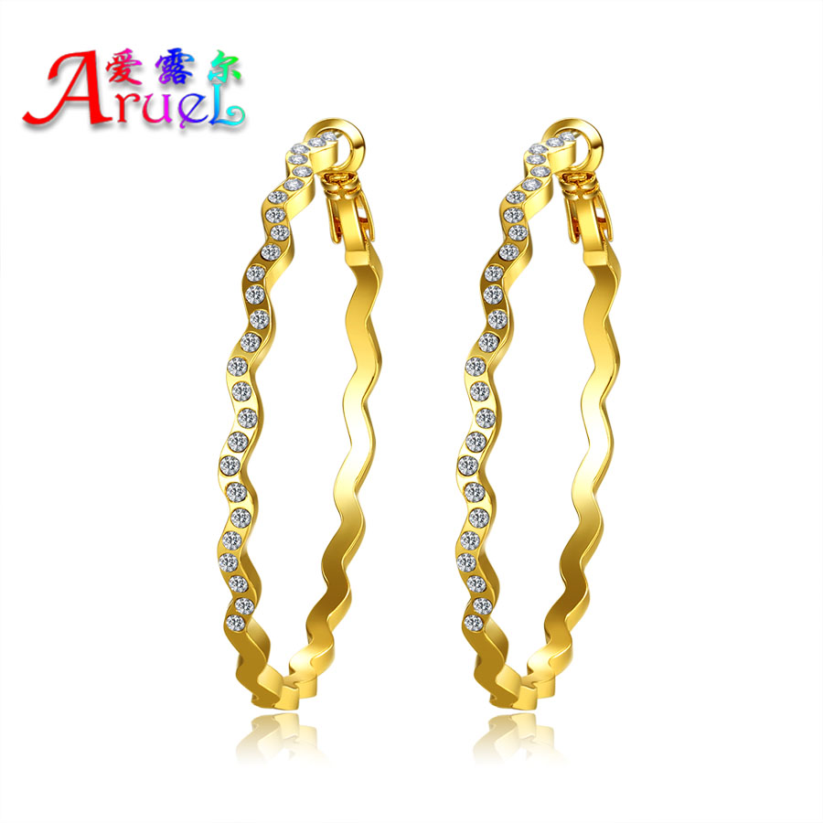 brincos ouro gold color trendy Austrian crystal rhinestone big size hoop earrings trendy wedding basketball Wives aros Earring