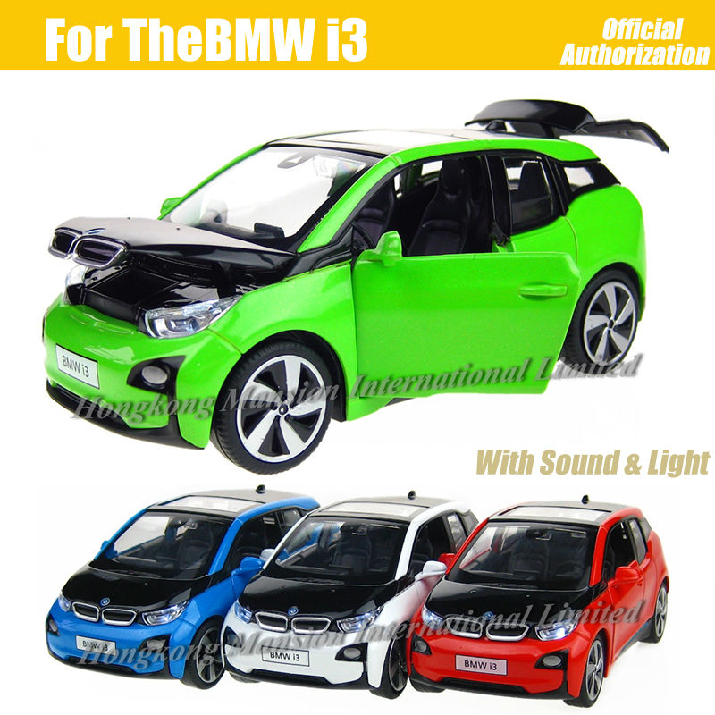 1:32 Scale Diecast Alloy Metal Car Model For Thebmw i3 Collection Model Pull Back Toys Car With Sound&Light