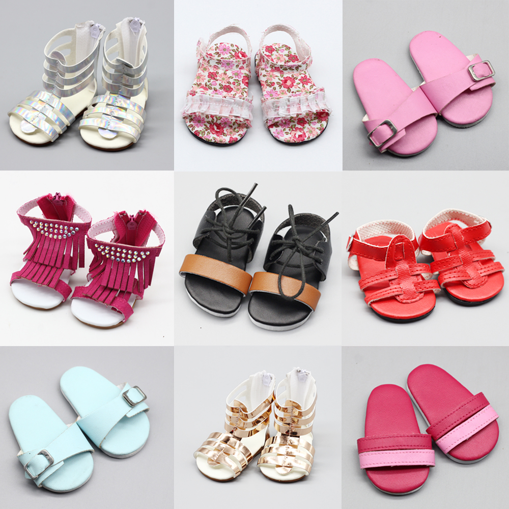 18-inch Doll Shoes-My Little Baby Accessories fit 18''/43cm baby doll-cute Toys Sandals for Girls best Gifts(China)