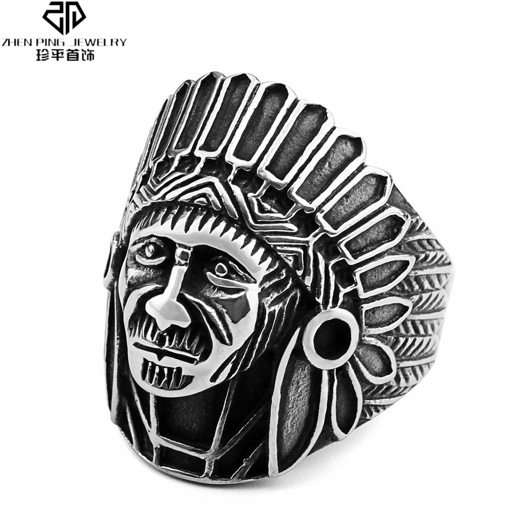 Apache Tribe Indian Chief Head Rings Punk Jewelry for Men 316L Stainless Steel Antique Ring