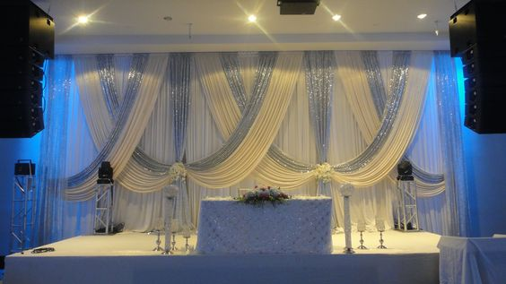 10ft x 20ft White Wedding Backdrop with shiny silver Swags Wedding drapes Stage decoration10ft x 20ft White Wedding Backdrop with shiny silver Swags Wedding drapes Stage decoration