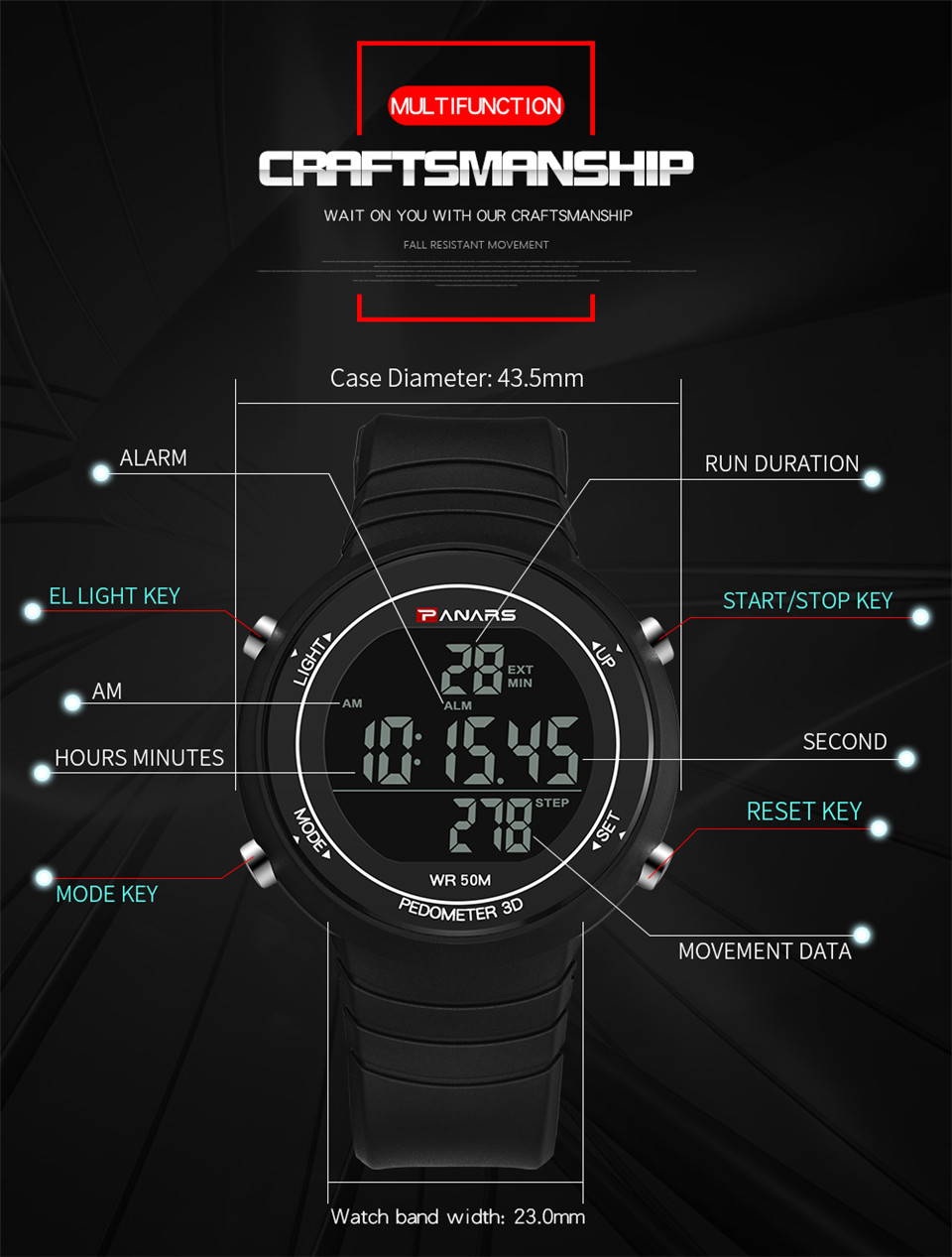 Pedometer Watch Clock Woman Waterproof 50M Outdoor Digital Sports Watch Women Simple Small Bracelet Hand Wrist Watches Hour gift (5)