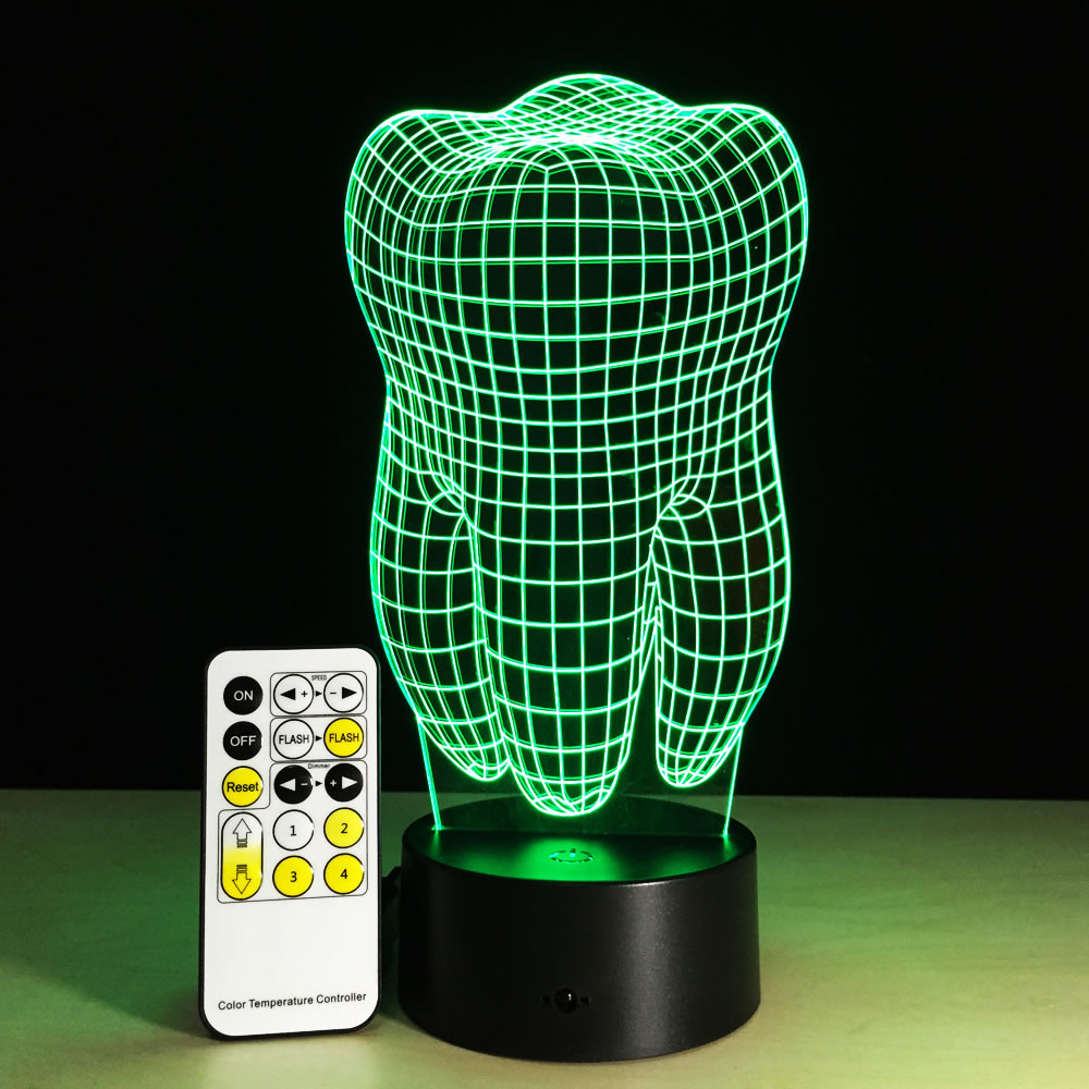 3d Night Lights 7 Changeable Color Mood Tooth Led Night