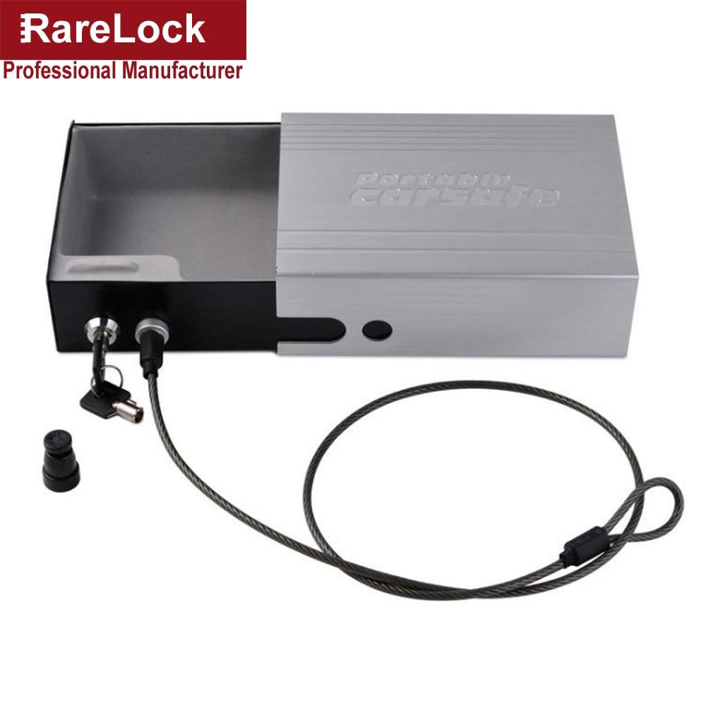 цена RareLock Portable mini Car Goods Safe Aluminum Alloy Material Automobile Storage Box Solid Steel Key Gun Vault Valuables Box d