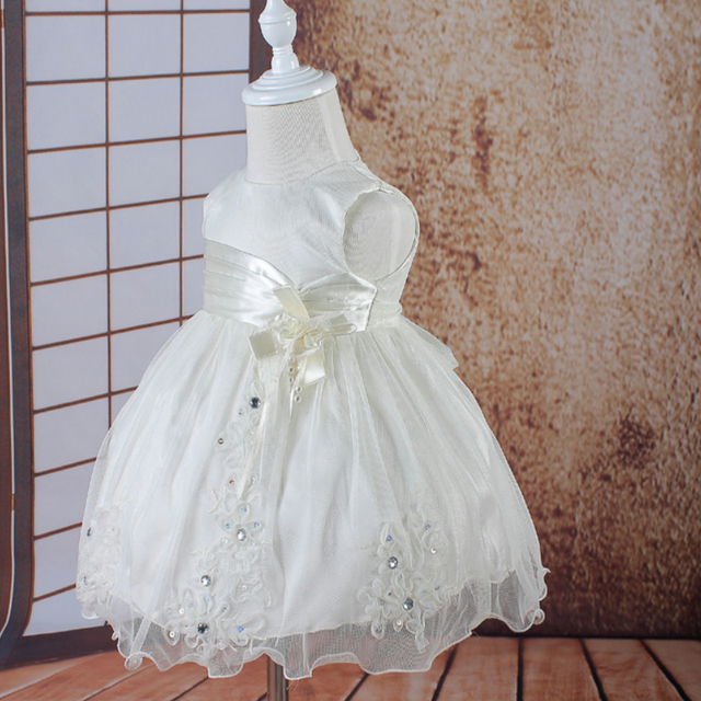 Hg Princess 3m-18m Infant Dresses 2016 New Arrival Lace Appliques Baby Dress For 1 Year Girl Birthday Newborn Christening Gown
