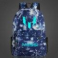 Bolsos de Hombro de Lionel Messi Messi Logo Impresión Mochilas Para Adolescentes Mochilas escolares Mochilas de Los Hombres Luminosos Niños Mochila Niño