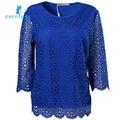 Весна-новый стиль с короткими рукавами, Блуза шитье кружево , Материал очень мягкий, очень удобный,Женская  Блуза,Европейская мода