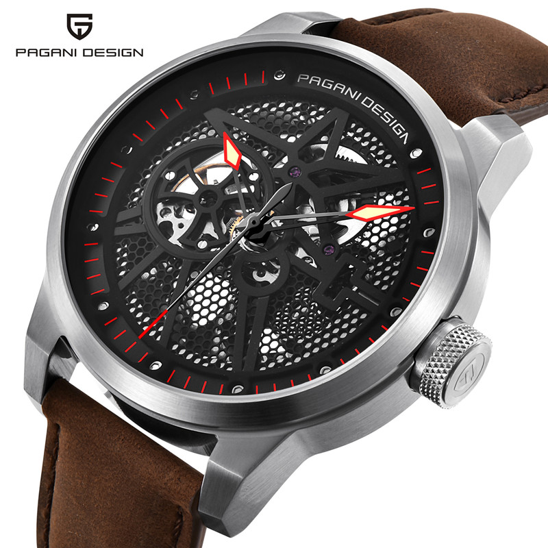 Фотография PAGANI DESIGN Business Mens Watches Top Brand Luxury Leather Strap skeleton Automatic Mechanical Watch Men Clock erkek kol saati