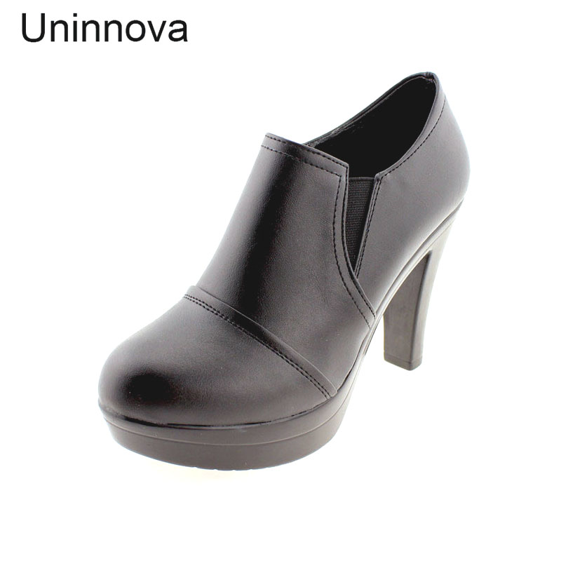 Women's Shoes Split Leather Platform High Heels Office Lady Court Shoes Zapato Femenino Black Brown WP030
