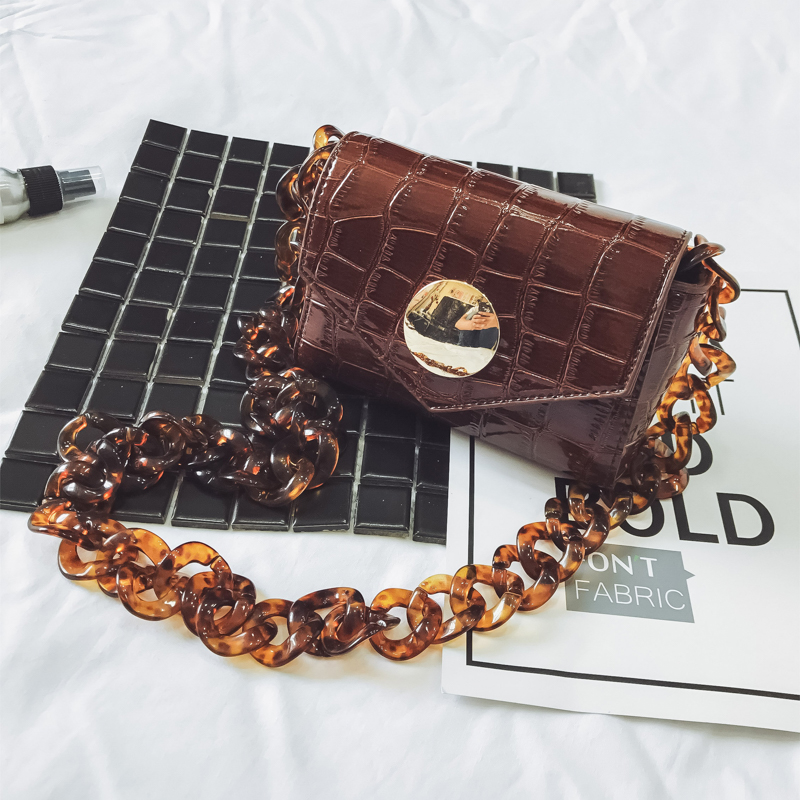 New Korean Style Stone Pattern Flap Bag Wemen Joker Chain Fashion Shoulder Bag Popular Vintage Brown PU Mini Crossbody Bag