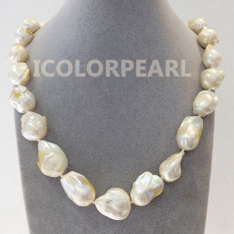 Big 12 18MM Irregular Baroque White Real Natural Freshwater Pearl Jewelry Necklace. Nice And Special Gift For Mothers!