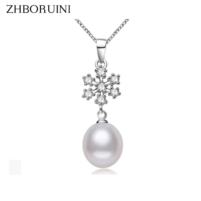 ZHBORUINI New Pearl Jewelry Natural Freshwater Pearl Snowflake Necklace Pendants 925 Sterling Silver Jewelry For Women Gift