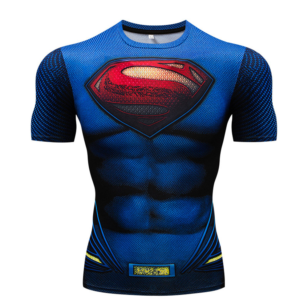 Cosplay Superman T Shirt Tee 3D Printed T-shirts Men Short Raglan sleeve Fitness Cosplay Costume DC Film Slim Fit Tops Male