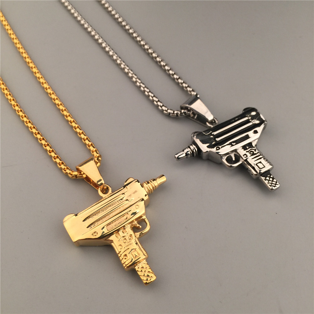 24K Gold Silver Plated Machine Gun Pistol Pendant Necklace Army
