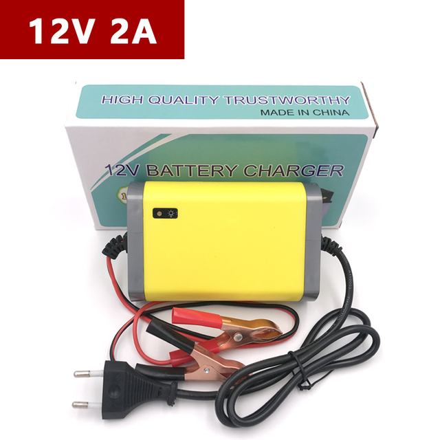 12V 2A Car Motorcycle Power Supply Battery Charger Lead-Acid Cell Wet Dry...