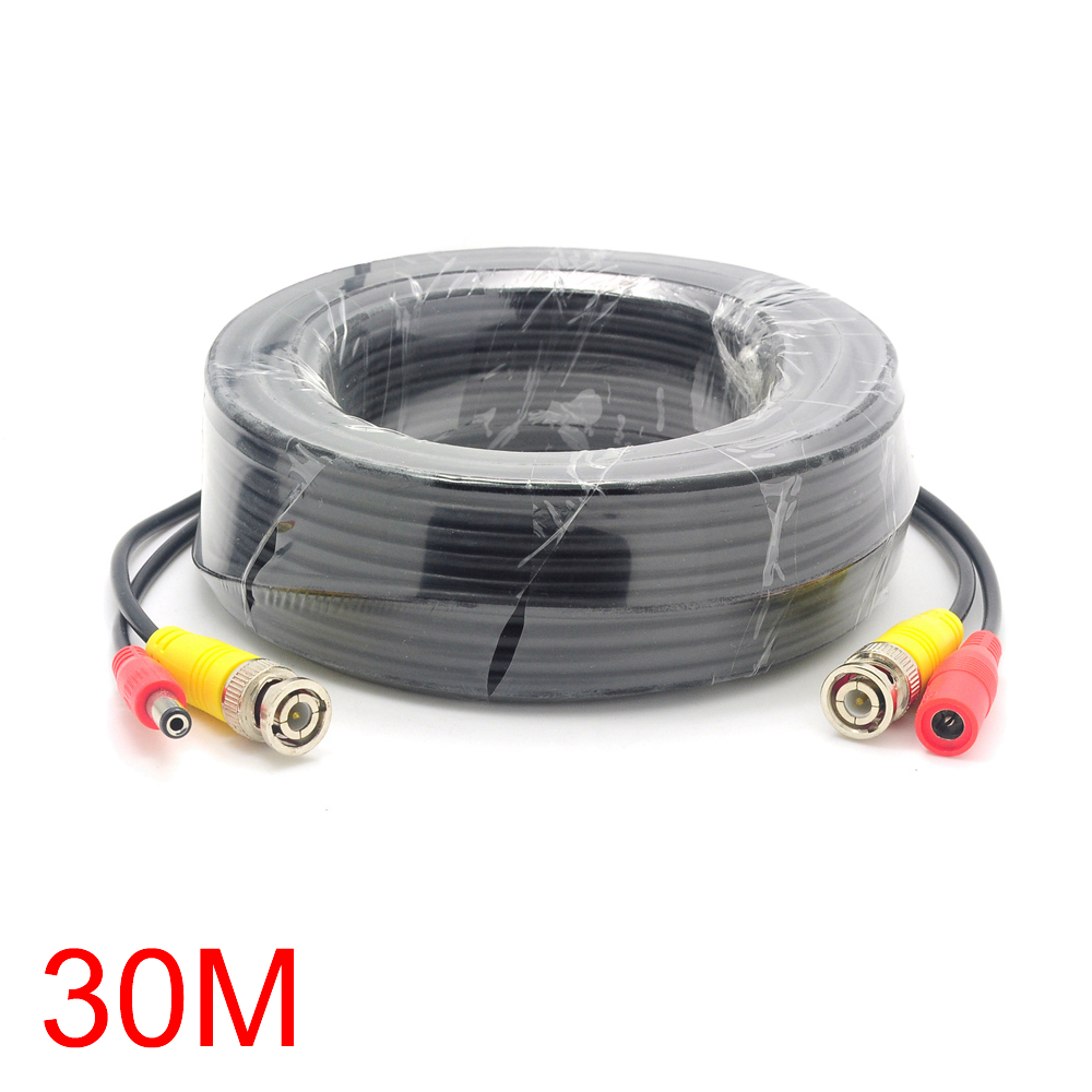 30M/98FT BNC DC Connector Power Audio Video AV Wire Cable For CCTV Camera