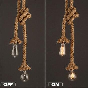 Retro Lamp E27 Hemp Rope Pendant Light Vintage Loft Creative lighting American Style lights Dining Living Room Restaurant Decor 3
